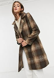 QED London checked coat in brown