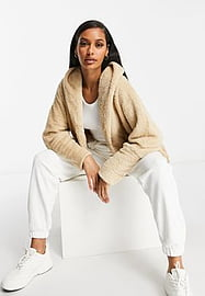 QED London chuck on soft touch jacket in camel-Brown