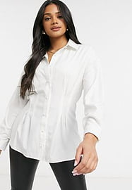 QED London cinched waist shirt in white