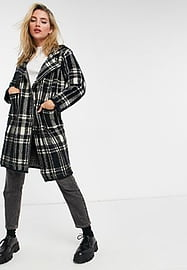 QED London double breasted coat in check-Black