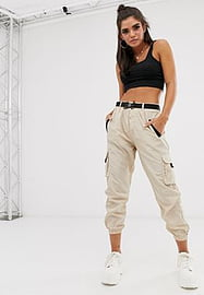 QED London elasticated cuff cargo trousers in stone-Neutral
