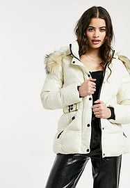 QED London puffer coat with faux fur trim and belt in white-Brown