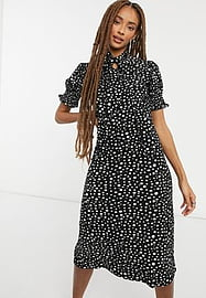 QED London soft touch midi dress with tie neck in polka dot-Black