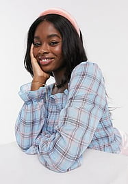 QED London square neck shirred top in blue check