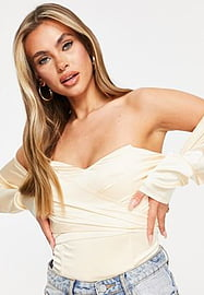 rare London bardot bodysuit with knot front in cream-White