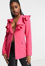 rare London frill blazer co-ord in pink