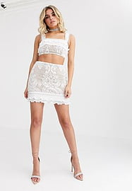 rare London lace ruffle mini skirt with hardware detail in white