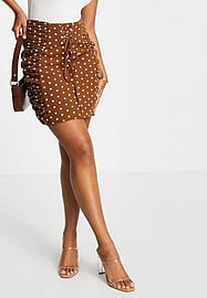 rare London lace up mini skirt co-ord in brown polkadot