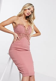 rare London strapless bodycon dress in pink