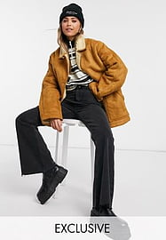 Reclaimed Vintage inspired aviator jacket with shearling in tan-Brown