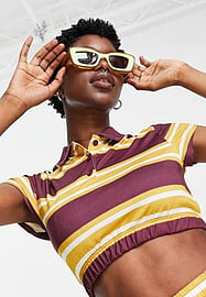 Reclaimed Vintage inspired crop polo top in retro stripe co-ord-Multi