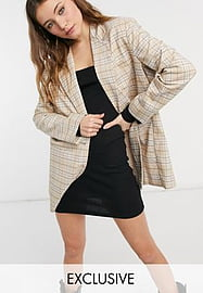 Reclaimed Vintage inspired dad blazer in check-Neutral