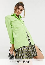 Reclaimed Vintage inspired fitted mint shacket-Green