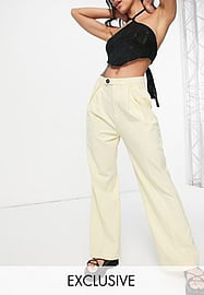 Reclaimed Vintage inspired high waisted trousers in cream-White