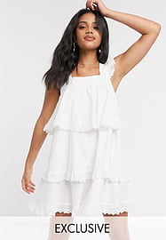 Reclaimed Vintage inspired mini smock dress with tiers and lace-White
