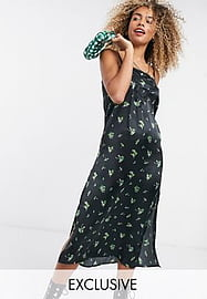 Reclaimed Vintage inspired satin cami midi dress with embroidery detail-Multi