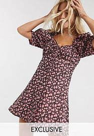 Reclaimed Vintage inspired tie front dress with puff sleeve in ditsy floral-Black