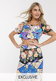 Reclaimed Vintage inspired top with puff sleeve in mixed floral print-Multi