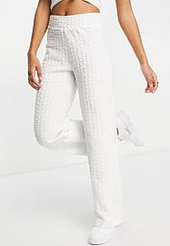 Selected Femme organic cotton blend wide leg sweat pants co-ord in white