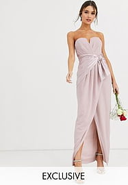 TFNC Bridesmaid bandeau maxi wrap dress with satin front detail in taupe-Brown