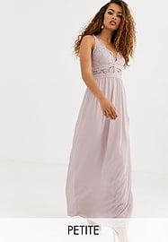 TFNC Petite Bridesmaid halter neck maxi dress with lace inserts in taupe-Brown