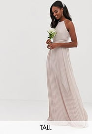 TFNC Tall bridesmaid exclusive high neck pleated maxi dress in taupe-Brown