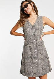 Vero Moda faux leather button down dress in snake-Brown
