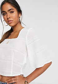 Vero Moda top with square neck and fluted sleeve in white-Multi