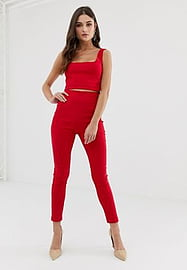 Vesper tailored trousers co-ord in red
