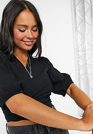 Vila crop fitted wrap blouse in black