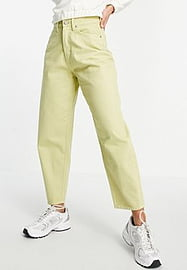 Waven balloon mom jeans co-ord in lime green
