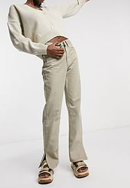 Waven straight leg jeans with side slit in sand-Neutral