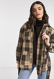 Y.A.S belted jacket with funnel neck in brown check-Multi