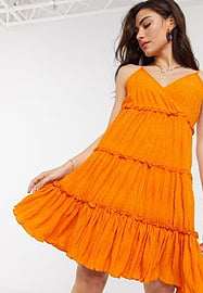 Y.A.S crinkle mini dress with tiered skirt in orange