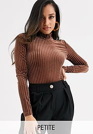 Y.A.S Petite high neck velvet ribbed body-Brown