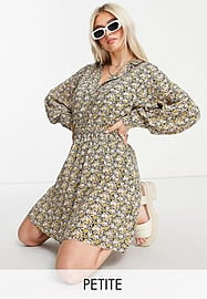Y.A.S Petite shirt co-ord with shirred cuff in floral print-Multi