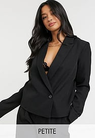 Y.A.S Petite tailored suit blazer with wrap over fastening in black