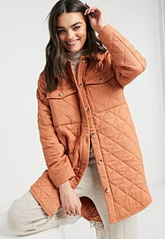 Y.A.S quilted longline jacket in orange