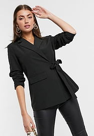 Y.A.S tailored blazer with tie side in black