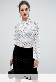 Y.A.S Tall dot sheer blouse-Multi