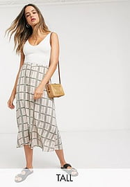 Y.A.S Tall maxi skirt in cream floral grid check-Multi