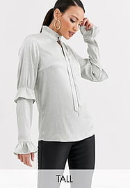 Y.A.S Tall Orakel long sleeve satin blouse-Silver
