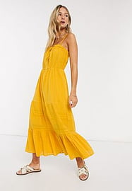 Y.A.S textured cami midi dress with button front in yellow-Orange