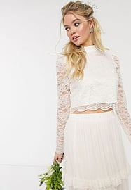 Y.A.S wedding top with highneck in cream lace-White
