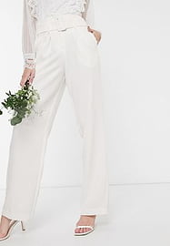 Y.A.S Wedding trousers with high waist in white