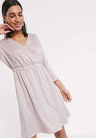 Y.A.S wrap mini dress with waist detail in pink