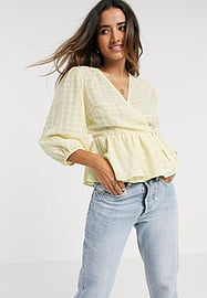 Y.A.S wrap top with pephem in yellow check-Orange