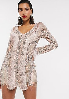 A Star Is Born exclusive embellished mini dress with pearls and fringe detail in taupe-Silver