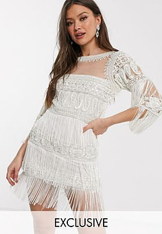 A Star Is Born exclusive mini tassel dress with embellishment in white