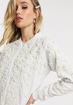 A Star Is Born just married jacket in ivory-White